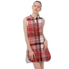 Red Abstract Check Textile Seamless Pattern Sleeveless Shirt Dress