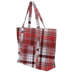 Red Abstract Check Textile Seamless Pattern Zip Up Canvas Bag