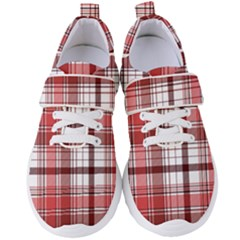 Red Abstract Check Textile Seamless Pattern Women s Velcro Strap Shoes