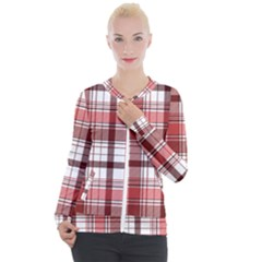 Red Abstract Check Textile Seamless Pattern Casual Zip Up Jacket