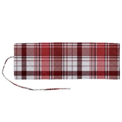 Red Abstract Check Textile Seamless Pattern Roll Up Canvas Pencil Holder (m)