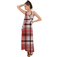 Red Abstract Check Textile Seamless Pattern V Neck Chiffon Maxi Dress