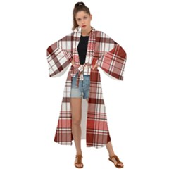 Red Abstract Check Textile Seamless Pattern Maxi Kimono