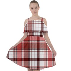 Red Abstract Check Textile Seamless Pattern Cut Out Shoulders Chiffon Dress