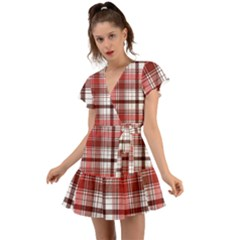 Red Abstract Check Textile Seamless Pattern Flutter Sleeve Wrap Dress