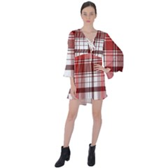 Red Abstract Check Textile Seamless Pattern V Neck Flare Sleeve Mini Dress