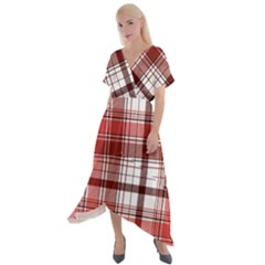 Red Abstract Check Textile Seamless Pattern Cross Front Sharkbite Hem Maxi Dress