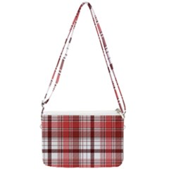 Red Abstract Check Textile Seamless Pattern Double Gusset Crossbody Bag