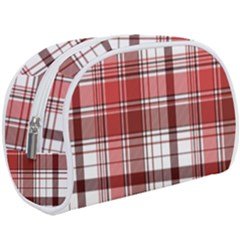 Red Abstract Check Textile Seamless Pattern Makeup Case (large)