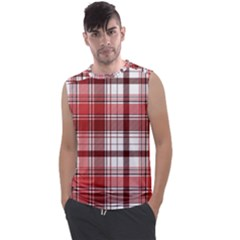 Red Abstract Check Textile Seamless Pattern Men s Regular Tank Top