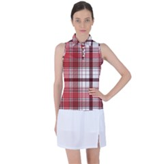 Red Abstract Check Textile Seamless Pattern Women s Sleeveless Polo Tee