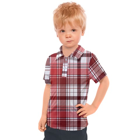 Red Abstract Check Textile Seamless Pattern Kids  Polo Tee by Wegoenart