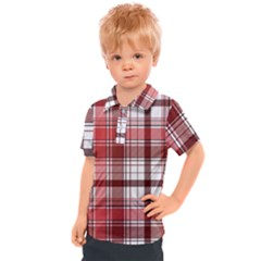 Red Abstract Check Textile Seamless Pattern Kids  Polo Tee