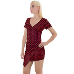 Df Pointsettia Short Sleeve Asymmetric Mini Dress by deformigo