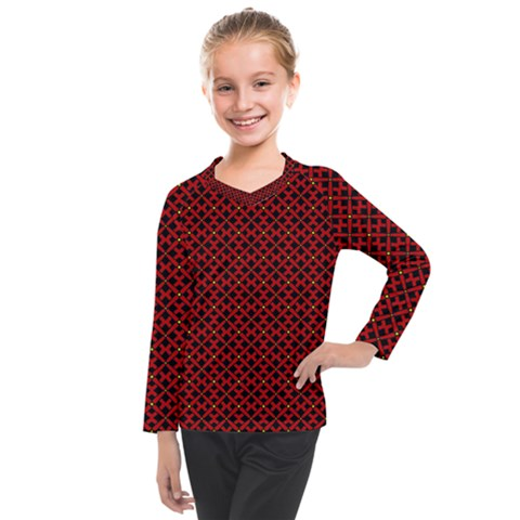 Df Pointsettia Kids  Long Mesh Tee by deformigo