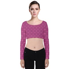 Df Calliandra Velvet Long Sleeve Crop Top by deformigo