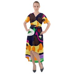 Mushroom,s Life Spin 1 2 Front Wrap High Low Dress