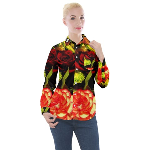 Flowers 1 1 Women s Long Sleeve Pocket Shirt by bestdesignintheworld