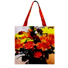 Flowers In A Vase 1 2 Grocery Tote Bag by bestdesignintheworld