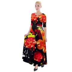 Flowers In A Vase 1 2 Half Sleeves Maxi Dress by bestdesignintheworld