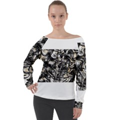 Marble Texture Off Shoulder Long Sleeve Velour Top
