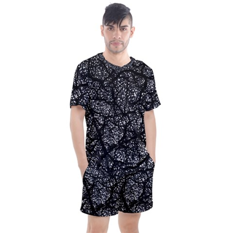 Black And White Dark Abstract Texture Print Men s Mesh Tee And Shorts Set by dflcprintsclothing