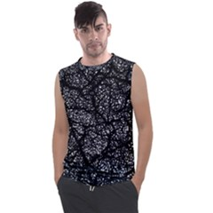 Black And White Dark Abstract Texture Print Men s Regular Tank Top