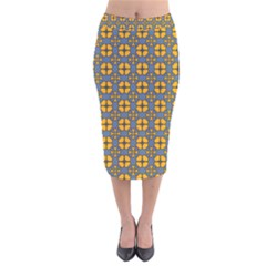 Arismendi Velvet Midi Pencil Skirt by deformigo