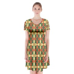 Sorobon Short Sleeve V-neck Flare Dress by deformigo