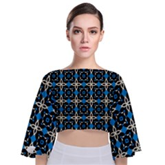 Benzu Tie Back Butterfly Sleeve Chiffon Top
