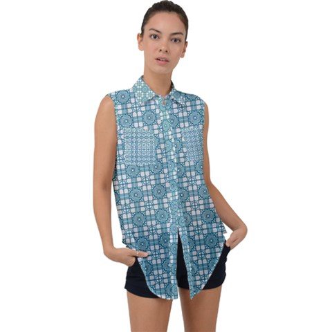 Ningaloo Sleeveless Chiffon Button Shirt by deformigo