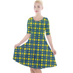 Wannaska Quarter Sleeve A-Line Dress