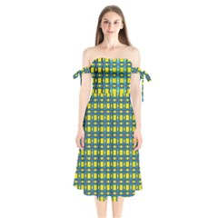 Wannaska Shoulder Tie Bardot Midi Dress