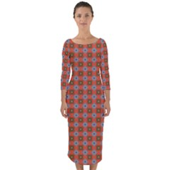 Persia Quarter Sleeve Midi Bodycon Dress