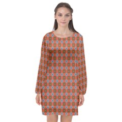 Persia Long Sleeve Chiffon Shift Dress