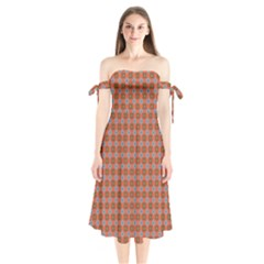 Persia Shoulder Tie Bardot Midi Dress