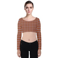 Persia Velvet Long Sleeve Crop Top