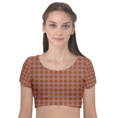 Persia Velvet Short Sleeve Crop Top