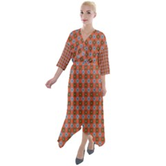 Persia Quarter Sleeve Wrap Front Maxi Dress