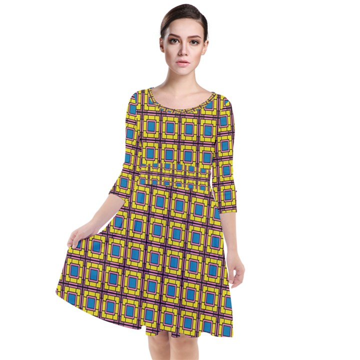 Montezuma Quarter Sleeve Waist Band Dress