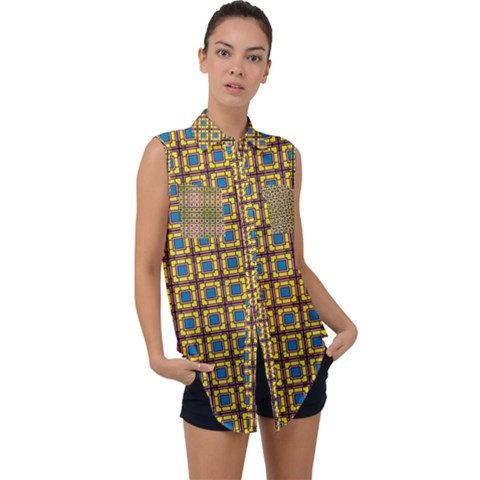 Montezuma Sleeveless Chiffon Button Shirt by deformigo