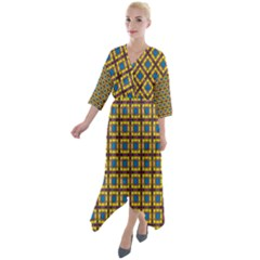 Montezuma Quarter Sleeve Wrap Front Maxi Dress by deformigo