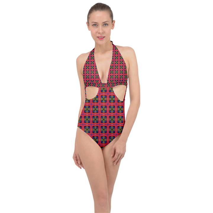 Wolfville Halter Front Plunge Swimsuit