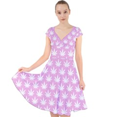 Kawaii Cannabis  Cap Sleeve Front Wrap Midi Dress
