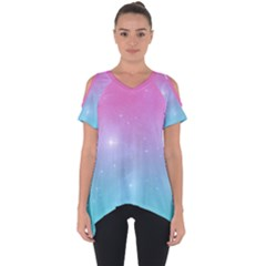 Pastel Goth Galaxy  Cut Out Side Drop Tee by thethiiird