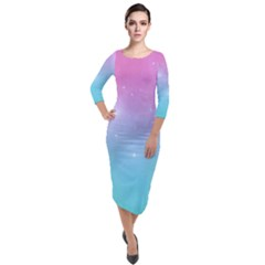 Pastel Goth Galaxy  Quarter Sleeve Midi Velour Bodycon Dress by thethiiird