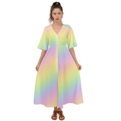 Pastel Goth Rainbow  Kimono Sleeve Boho Dress by thethiiird