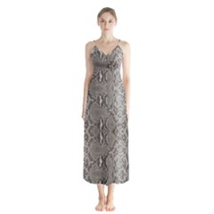 Python Snakeskin Print Button Up Chiffon Maxi Dress by LoolyElzayat