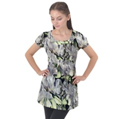 Elegant Flowers A Puff Sleeve Tunic Top by MoreColorsinLife