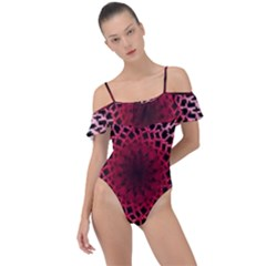 Gradient Spirograph Frill Detail One Piece Swimsuit